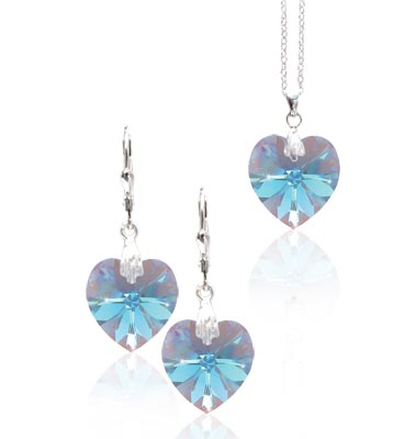 Stříbrná souprava Aquamarine Crystal 30b (Made with Swarovski® Elements)