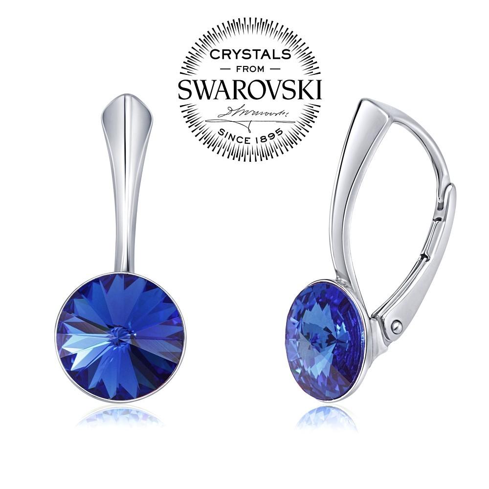stříbrné náušnice se Swarovski® Crystals 8 mm rivoli VSW041E-blue