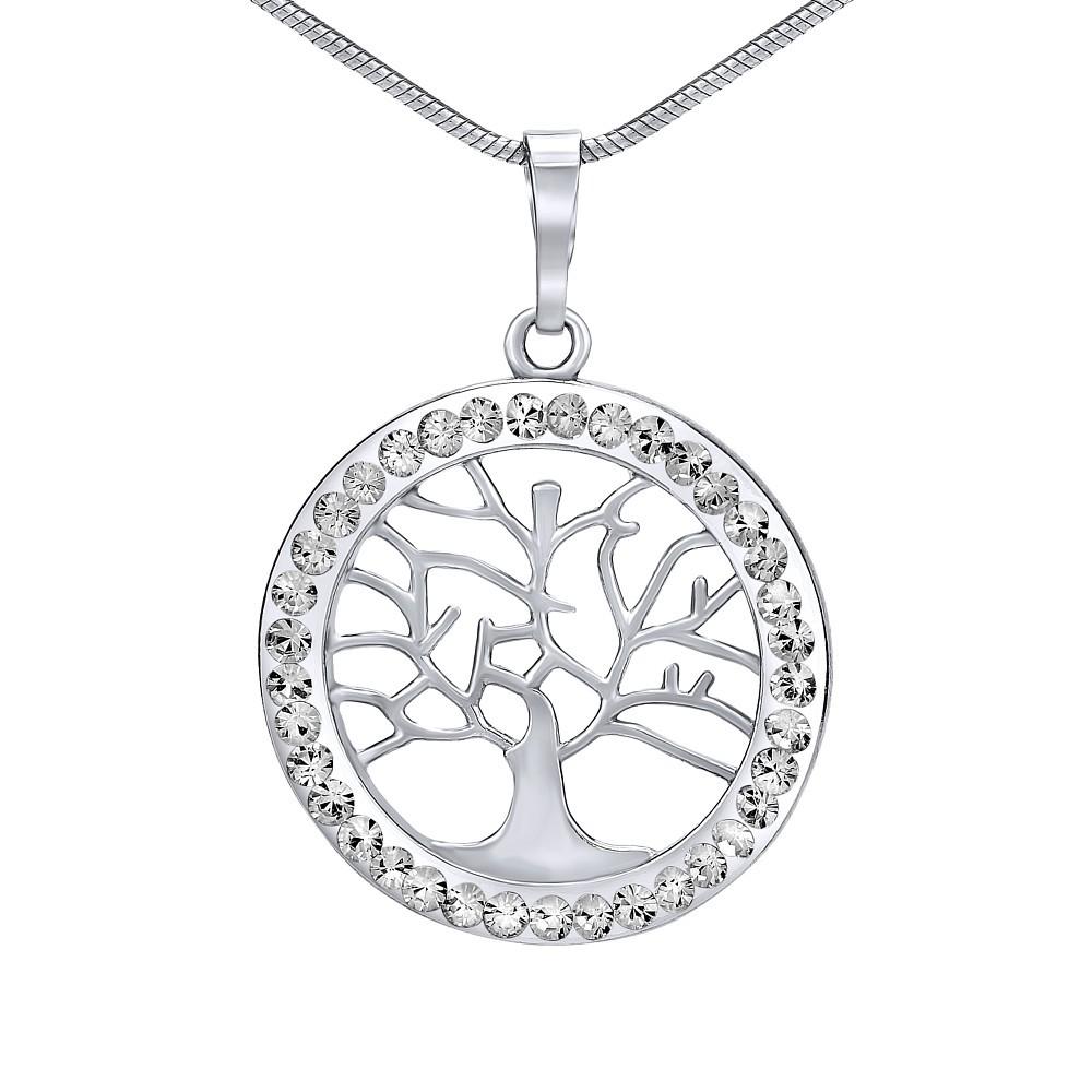 SILVEGO stříbrný přívěsek strom života se Swarovski® Crystals