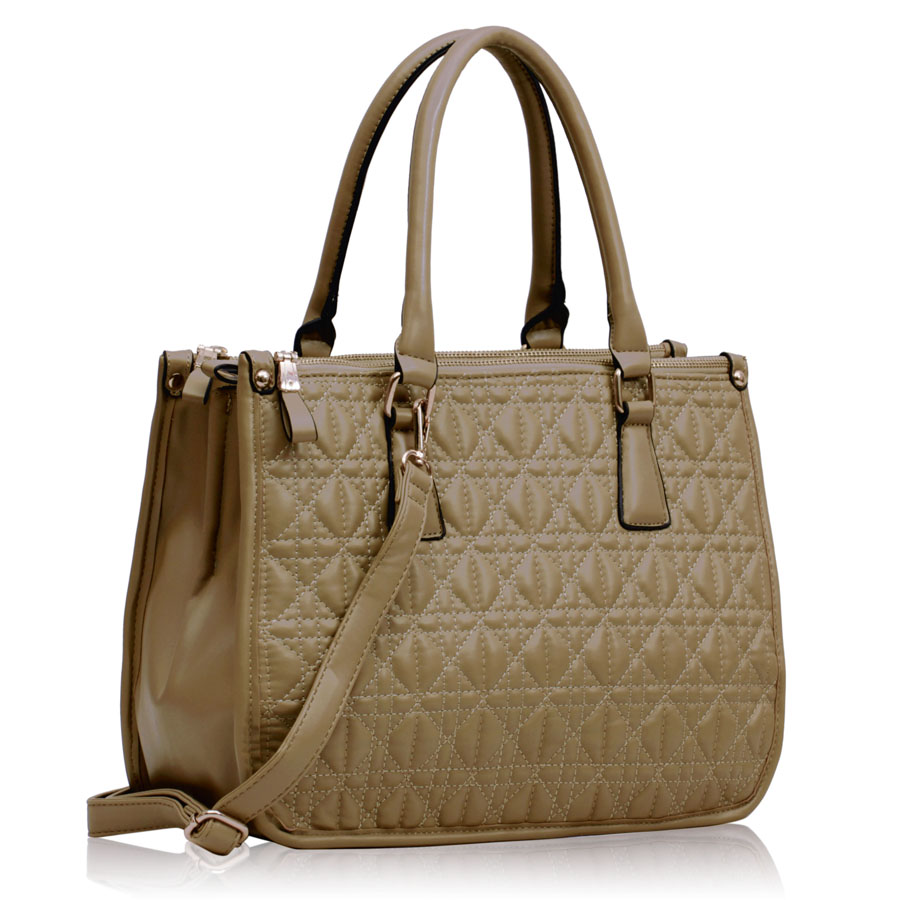 Kabelka LS00215A - Beige Three Zipper Quilted Tote