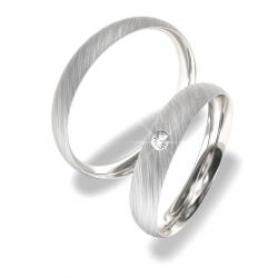 Luxusní Ocelové snubní prsteny s briliantem 0140202154