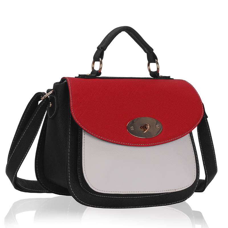 Kabelka LS FASHION LS00238A - černo-červeno-bílá