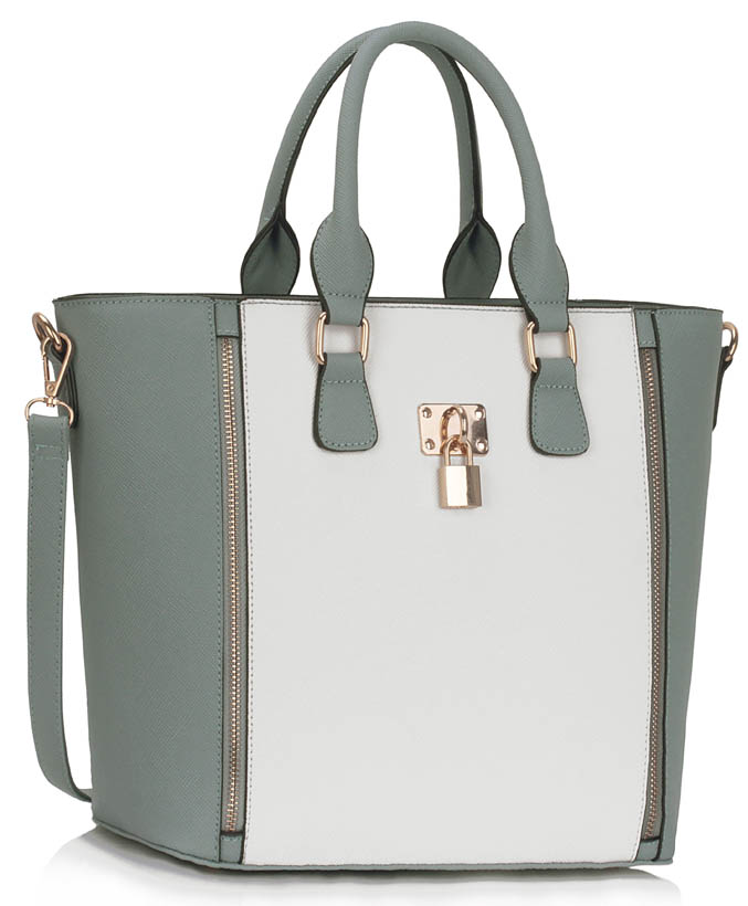 Kabelka LS fashion LS0031A - šedo-bílá