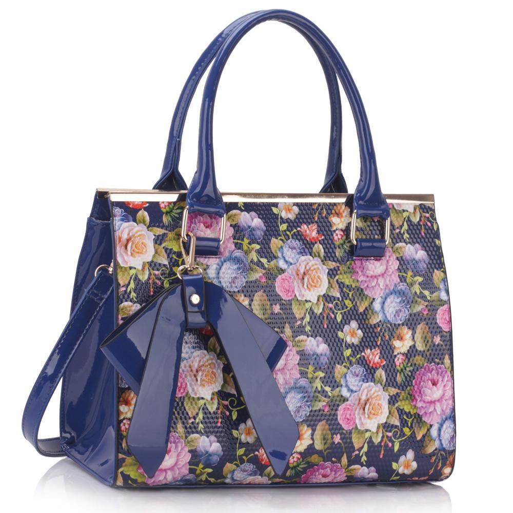 LS dámská kabelka s mašlí a květy LS00374 modrá