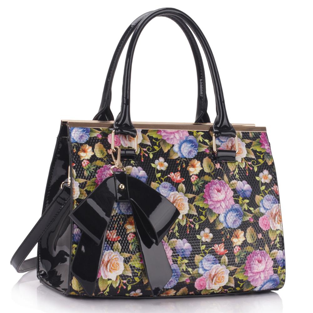LS dámská kabelka s mašlí a květy LS00374 černá
