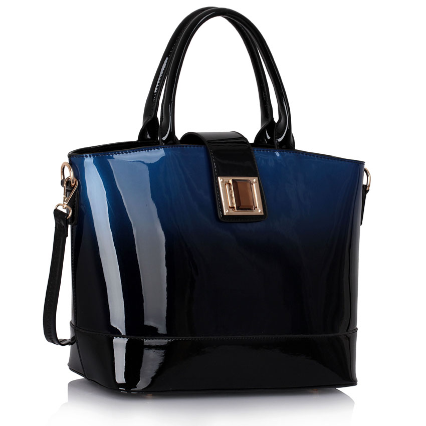 Kabelka LS fashion LS00329 - Navy Patent Two-Tone Handbag