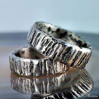 Snubní prsteny kovaná nerezová ocel - WOOD (Snubní prsteny kovaná nerezová ocel - WOOD)