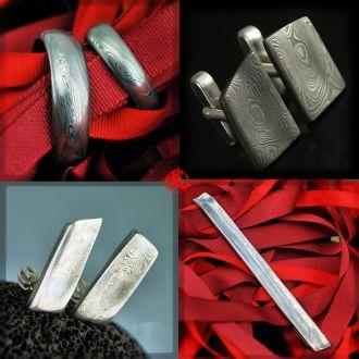 Svatební set - snubní prsteny, náušnice, manžetové knoflíčky a spona na kravatu (Svatební set - snub