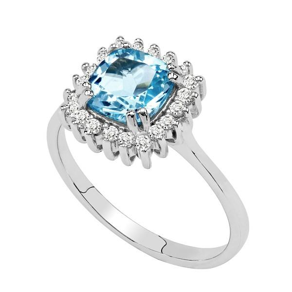 GIO CARATTI čtvercový prsten ze stříbra s Topazem
