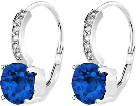 Náušnice stříbrné Dark blue se Swarovski Elements ZTE04300-M