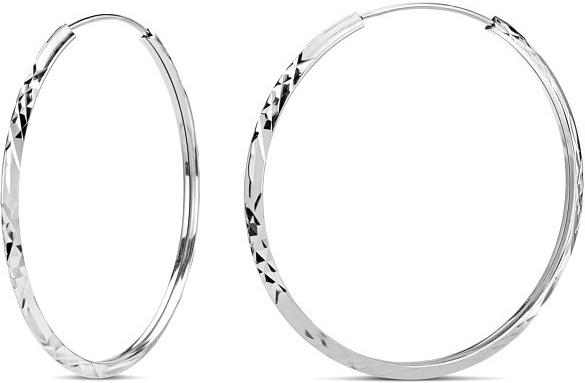 Náušnice stříbrné ryté kruhy SHZE029
