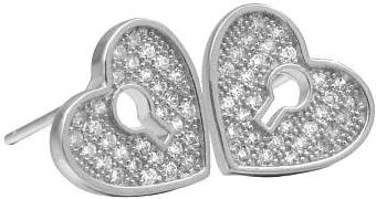 Náušnice stříbrné srdce s micro zirconia EWE00491
