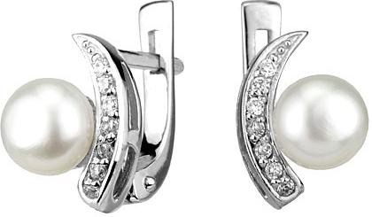 Náušnice stříbrné ADELINA s bílou perlou FNJE0608-PR