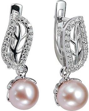 Náušnice stříbrné zdobené perlou a křišťálem FNJE0707-PP