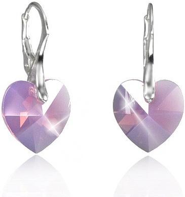 Náušnice stříbrné Srdce Cyclamen Opal Swarovski Elements LSW112E