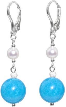 Stříbrné náušnice s kameny modrý Achát a říční perla