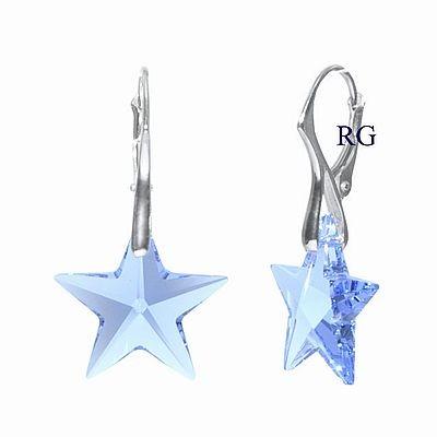 Náušnice Silvego stříbrné Hvězda Light Sapphire Swarovski Elements LSW041E