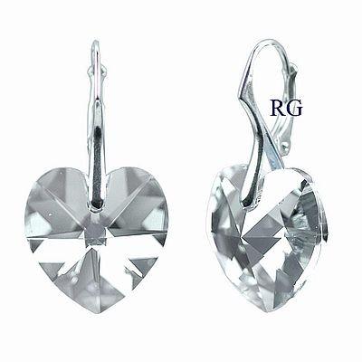 Náušnice stříbrné srdce Black Diamond Swarovski Elements LSW037E