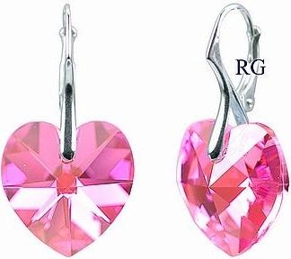 Náušnice stříbrné růžové srdce Swarovski Elements LSW036E