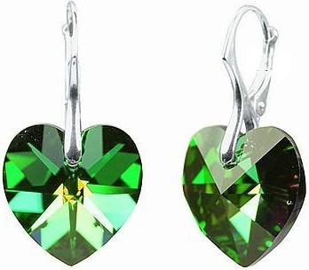 Náušnice stříbrné zelené srdce Swarovski Elements LSW035E