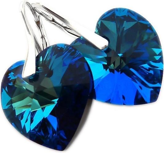 Náušnice Silvego Srdce Bermuda Blue Swarovski Elements LSW008E