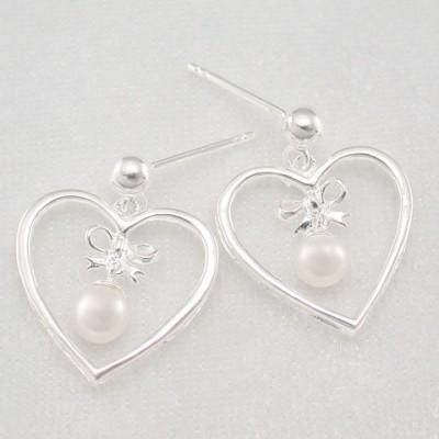 Stříbrné náušnice s perlou srdce KE1832