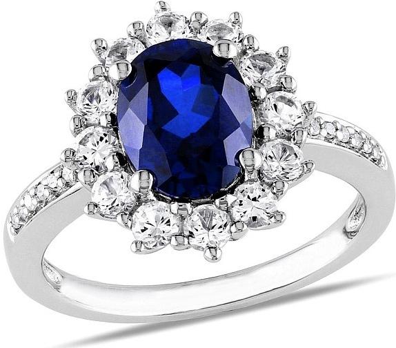 Stříbrný prsten princezny Kate se syntetickým Safírem - HHR1289