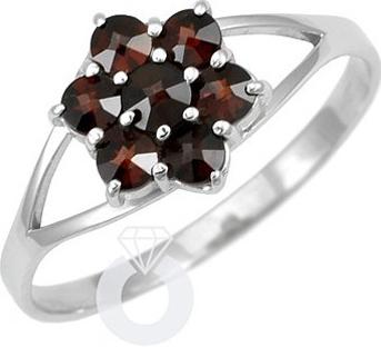 Stříbrný prsten FLORET s pravým granátem