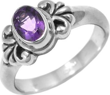Elegantní stříbrný prsten Bali s pravým ametystem - R10122AM