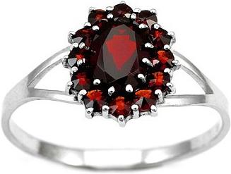 Stříbrný prsten s granátem - BSG280001