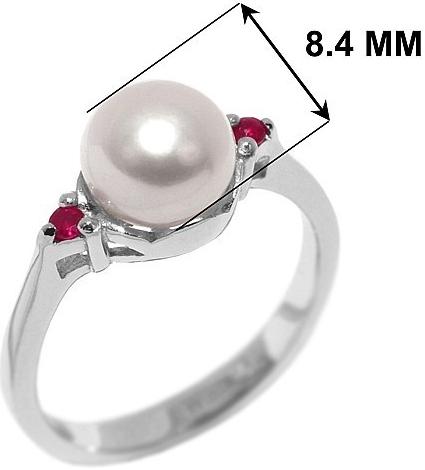 Stříbrný prsten MELIA s perlou a rubínem - FNJR0710
