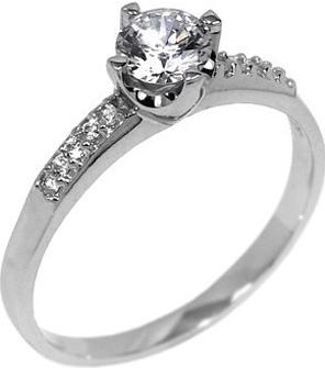 Stříbrný zásnubní prstýnek Poesis se Swarovski Zirconia - EWER03005