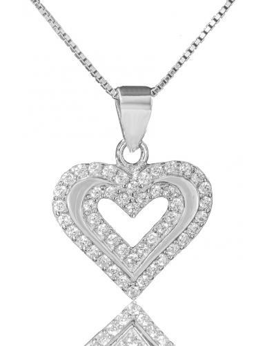 Stříbrný náhrdelník přívěškem ve tvaru srdce 01