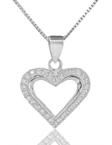 Stříbrný náhrdelník přívěškem ve tvaru srdce 02