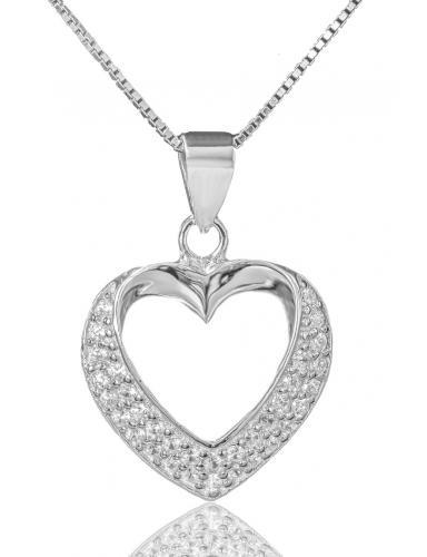 Stříbrný náhrdelník přívěškem ve tvaru srdce 04