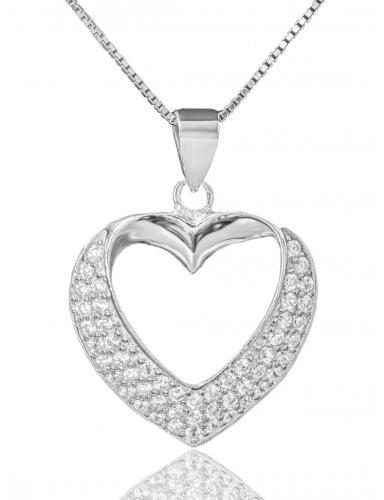 Stříbrný náhrdelník přívěškem ve tvaru srdce 06