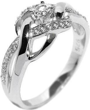 Stříbrný prsten proplétaný se zirkony - EWER02989