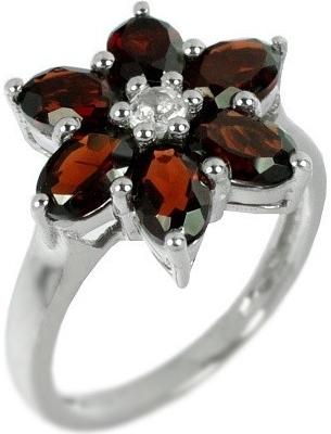 Stříbrný prsten Silvego ve tvaru květu s přírodním Granátem RS-G36336