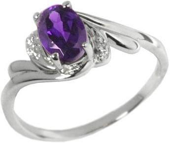 Decentní stříbrný prsten s přírodním Ametystem - JBR8-AM