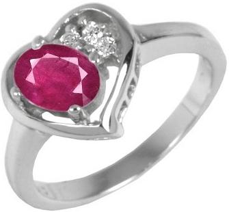 Stříbrný prsten srdce s pravým přírodním Rubínem - JGTCR0408-R