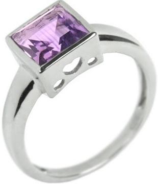 Stříbrný prsten s přírodním Ametystem čtverec - RSG38051