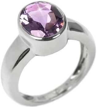 Stříbrný moderní prsten s pravým Ametystem - RSG36156