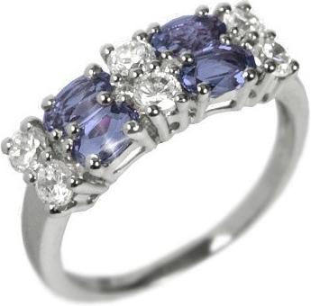 Dámský prsten s přírodním iolitem a zirkony - RSG36087I