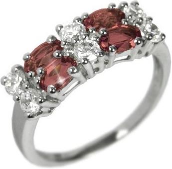 Dámský prsten s přírodním Granátem a zirkony - RSG36087G