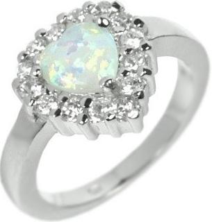 Luxusní prsten Silvego ve tvaru srdce s opálem J2002ROP
