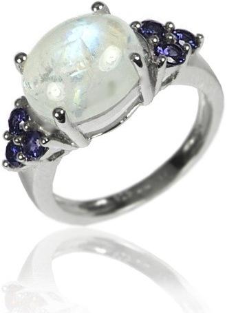 Silvego Stříbrný prsten s polodrahokamy iolit a měsíční kámen - RSG36080I