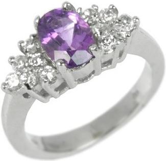 Elegantní stříbrný prsten s přírodním Ametystem - JGFR0176