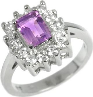 Elegantní stříbrný prsten s přírodním Ametystem - JGTCR0257