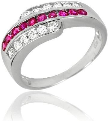 Atraktivní stříbrný prsten s červeným zirkonem - JJSR6020