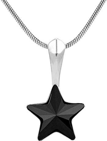 SILVEGO stříbrný přívěsek černá hvězda se Swarovski - vsw038p